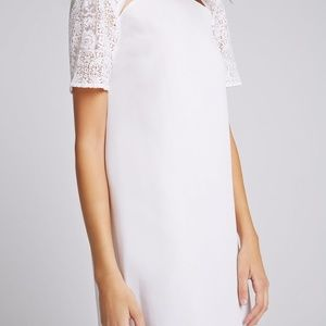 BCBGeneration Dresses - White Chiffon Dress with Lace Sleeves - BCBG